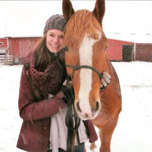 Ashley Navis with her horse in Winter 2017